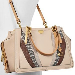 NWT COACH Large Patchwork Leather/Snakeskin Bag